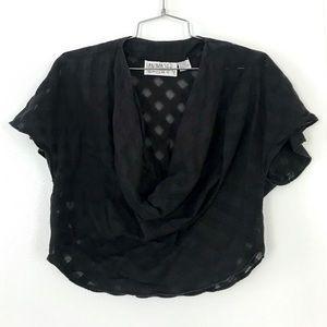 Vintage 1980's black cotton linen crop top shirt